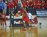 Ole Miss guard Chris Warren (12)  dribbles at the C.M. &quot;Tad&quot; Smith Coliseum in Oxford, Miss. on Tuesday, February 1, 2011. Ole Miss won 71-69.