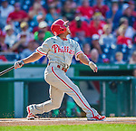6 September 2014: Philadelphia Phillies outfielder Ben Revere in action against the Washington Nationals at Nationals Park in Washington, DC. The Nationals fell to the Phillies 3-1 in the second game of their 3-game series. Mandatory Credit: Ed Wolfstein Photo *** RAW (NEF) Image File Available ***