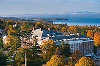 Aerial view of the Waterman Building and Lake Champlain, Fall UVM Campus