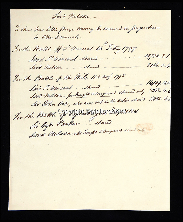 BNPS.co.uk (01202 558833)<br /> Pic: Mellors&amp;Kirk/BNPS<br /> <br /> A document 'To show how little prize money he received in proportion to other admirals' in other battles.<br /> <br /> Fascinating letters in which a cash-strapped Admiral Lord Nelson fired a financial broadside at his commanding officer in an unseemly row over prize money have come to light.The letters from Nelson's banker relate to much needed bounty the one-armed sailor felt he was due in the wake of one of the most lucrative naval engagements in history. Nelson had been overlooked a pay out for the 1799 capture of two Spanish frigates loaded with gold bullion which had a combined value of &pound;650,000 - &pound;65m in today's money.Nelson, who by this stage had to pay a hefty mortage on his grand home in Surrey, was in debt to ex-wife Fanny and had to keep mistress Emma Hamilton in the style she was accustomed to, was livid.Mellors &amp; Kirk auctions - 22 March - Est &pound;3000.