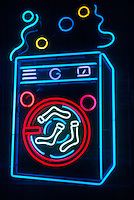 NEON SIGN<br /> Laundromat Washing Machine<br /> Mixtures of neon and other gases emit bright colors when excited by an electric discharge.
