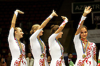 Russia wins team gold in rhythmic gymnastics at World Championships in Baku, Azerbaijan, October 6, 2005.  World Championships run to October 10.  (L-R) Vera Sessina, Olga Kapranova, Svetlana Puntintsieva, Irina Tchachina.  (Photo by Tom Theobald)