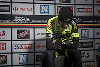 an emotional &amp; exhausted close 2nd place finisher Alex Kirsch (LUX/WB Veranclassic - Aqua Protect) is ready for the post-race podium ceremony<br /> <br /> GP Le Samyn 2017 (1.1)