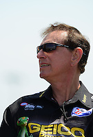 May 19, 2012; Topeka, KS, USA: NHRA top fuel dragster team owner Forrest Lucas during qualifying for the Summer Nationals at Heartland Park Topeka. Mandatory Credit: Mark J. Rebilas-