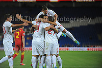 The Serbian players celebrate a goal during the Wales v Serbia FIFA World Cup 2014 Qualifier match at Cardiff City Stadium, Cardiff, Wales -Tuesday 10th Sept 2014. All images are the copyright of Jeff Thomas Photography-07837 386244-www.jaypics.photoshelter.com