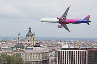 Wizz Air Airbus A321 series aircraft performs a low pass during an air show above river Danube crossing central Budapest, Hungary on May 01, 2016. ATTILA VOLGYI