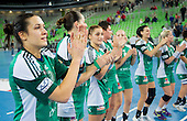 Andrea Lekic and other Players of Gyori  celebrate after the handball match between RK Krim Mercator and Gyori Audi ETO KC (HUN) in 3rd Round of Group B of EHF Women's Champions League 2012/13 on October 28, 2012 in Arena Stozice, Ljubljana, Slovenia. Gyori defeated Krim Mercator 31-20. (Photo By Vid Ponikvar / Sportida)