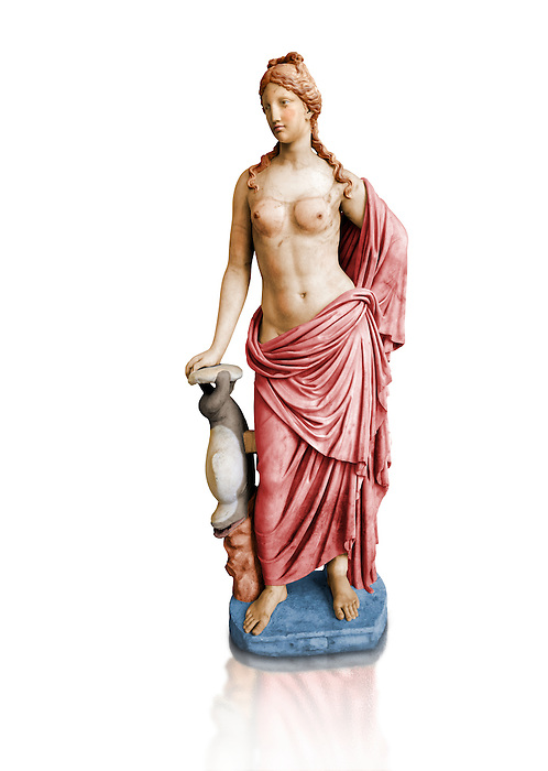 Painted colour verion of 2nd century AD Roman marble sculpture of Aphrodite 2nd - 1st century BC Roman marble sculpture of Aphrodite (Venus), 'Marine Venus' Type with a dolphin, copied from a Hellanistic Greek original,  inv 6296, Museum of Archaeology, Italy, white background