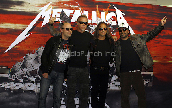 MEXICO CITY, JULY 28, 2012: Metallica at the press conference announcing their 8 shows at the Sports Palace in Mexico City during their curren tour. Credit: Jose Melton/Slikaphoto/NortePhoto/MediaPunch Inc. ***FOR USA ONLY***