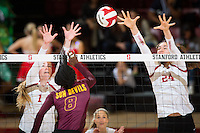 STANFORD, CA - October 15, 2016: Jenna Gray,Audriana Fitzmorris at Maples Pavilion. The Cardinal defeated the Arizona State Sun Devils 3-1.