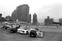 DETROIT, MI - JUNE 22: Nelson Piquet of Brazil drives the Williams FW11/Honda RA166E ahead of Jonathan Palmer in the Zakspeed 861/Zakspeed 1500-4 during the Detroit Grand Prix FIA Formula One World Championship race on the Detroit Street Circuit in Detroit, Michigan, on June 22, 1986.