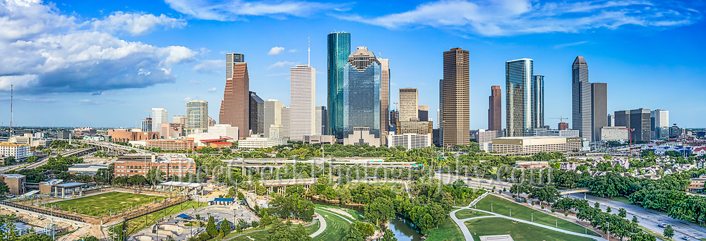 This is a aerial panorama of the Houston skyline view of the city which includes the Buffalo Bayou along with the Jamail Skate Park and the Eleanor Tinsley Park with all the high rise skyscrapers in downtown in view. We were able to capture this high quality aerial image because we use a full frame camera on our drone for out still photographs so we can get the best image which can be printed easlity as a 20 x 60 or larger size without loss of resolution for panos.​