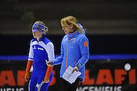 SCHAATSEN: HEERENVEEN: 29-11-2014, IJsstadion Thialf, KNSB trainingswedstrijd, Marianne Timmer,Thijsje Oenema, ©foto Martin de Jong
