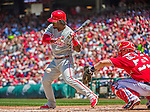 24 May 2015: Philadelphia Phillies outfielder Odubel Herrera at bat during a game against the Washington Nationals at Nationals Park in Washington, DC. The Nationals defeated the Phillies 4-1 to take the rubber game of their 3-game weekend series. Mandatory Credit: Ed Wolfstein Photo *** RAW (NEF) Image File Available ***