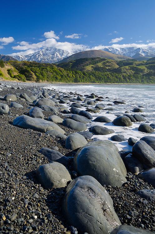 Rocky beach at Mangamaunu, near Kaikoura, South Island, New Zealand - stock photo, canvas, fine art print