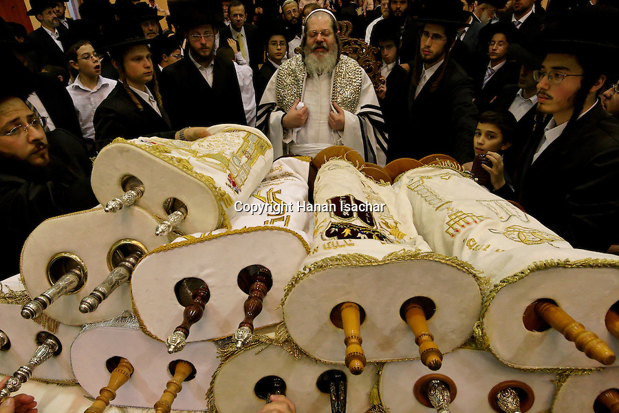 Israel, Bnei Brak. The Synagogue of the Premishlan congregation, Simchat Torah (on the eights day of Succot), the Rebbe with the Torah scrolls 2005<br />