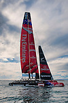 Emirates Team New Zealand sailing the AC72 on the Hauraki Gulf on the second day of sailing. 3/8/2012