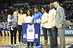 UK senior forward Brittany Henderson and her family being honored during the first half of the women's basketball game vs. Tennessee at Memorial Coliseum on Sunday, March 3, 2013, in Lexington, Ky. Photo by Kalyn Bradford | Staff