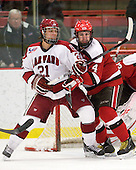 Marshall Everson (Harvard - 21), Pete Child (St. Lawrence - 4) - The Harvard University Crimson defeated the St. Lawrence University Saints 4-3 on senior night Saturday, February 26, 2011, at Bright Hockey Center in Cambridge, Massachusetts.