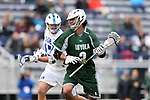 DURHAM, NC - MARCH 11: Loyola's Romar Dennis (3) and Duke's Thomas Zenker (17). The Duke University Blue Devils hosted the Loyola University Maryland Greyhounds on March 11, 2017, at Koskinen Stadium in Durham, NC in a Division I College Men's Lacrosse match. Duke won the game 15-7.