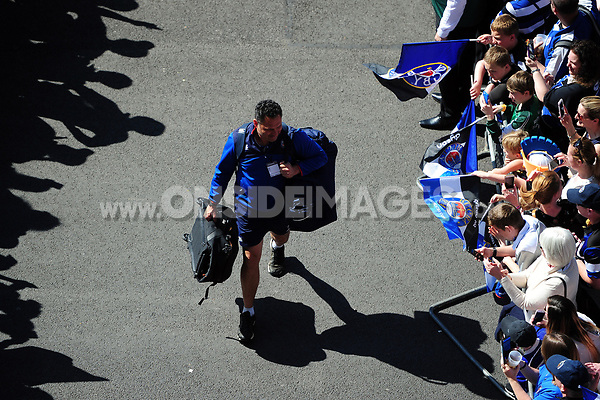 Bath Rugby Head Coach Tabai Matson mingles with the crowd on his way to the stadium. The Clash, Aviva Premiership match, between Bath Rugby and Leicester Tigers on April 8, 2017 at Twickenham Stadium in London, England. Photo by: Patrick Khachfe / Onside Images