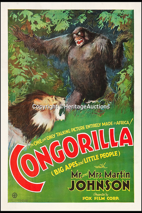 BNPS.co.uk (01202 558833)<br /> Pic: HeritageAuctions/BNPS<br /> <br /> Congorilla (Fox, 1932) estimate $8,000.<br /> <br /> A lucky family is set to make a staggering &pound;160,000 after a hoard of old film posters they stumbled upon under the floor of their new home turned out to be 'lost' Hollywood relics.<br /> <br /> The prized stash of 17 perfectly preserved posters was discovered by Bob and Dylan Basta as they tore up the lino in the house their dad Robert was renovating. <br /> <br /> After calling in experts from leading auctioneers Heritage they found that among their treasure trove were five never-seen-before posters from the Golden Age of Hollywood.<br /> <br /> The collection is now tipped to fetch a whopping $240,000 - around &pound;160,000 - at Heritage Auctions in Dallas, Texas.