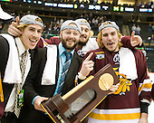 Luke McManus (Duluth - 21), Cody Danberg (Duluth - 20), ?, Justin Faulk (Duluth - 25) - The University of Minnesota-Duluth Bulldogs celebrated their 2011 D1 National Championship win on Saturday, April 9, 2011, at the Xcel Energy Center in St. Paul, Minnesota.