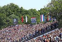 Jun 12, 2016; Englishtown, NJ, USA; NHRA fans in the grandstands during the Summernationals at Old Bridge Township Raceway Park. Mandatory Credit: Mark J. Rebilas-USA TODAY Sports