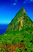 The Pitons seen from Ladera Resort, Soufriere, St. Lucia