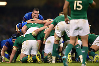 Louis Picamoles of France rallies his fellow forwards at a scrum. Rugby World Cup Pool D match between France and Ireland on October 11, 2015 at the Millennium Stadium in Cardiff, Wales. Photo by: Patrick Khachfe / Onside Images