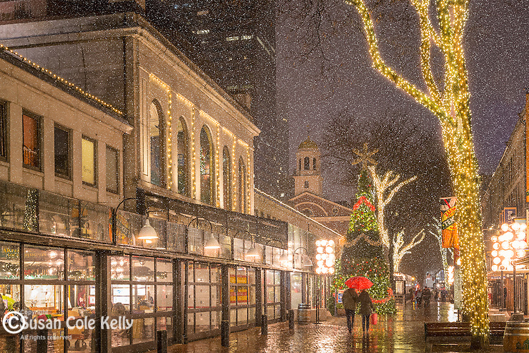 A snowy holiday evening at Quincy Market, Boston, Massachusetts, USA