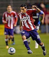 Chivas USA forward Jesus Padilla (10) moves with the ball. CD Chivas USA defeated the San Jose Earthquakes 3-2 at Home Depot Center stadium in Carson, California on Saturday April 24, 2010.  .