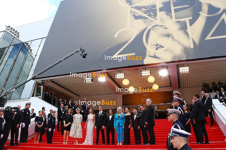 CPE/ Official Selection Jury members Carole Bouquet, Nicolas Winding Refn, Leila Hatami, Sofia Coppola, Jane Campion, Gael Garcia Bernal, Zhangke Jia, Do-yeon Jeon and Willem Dafoe attend the Opening ceremony and the 'Grace of Monaco' Premiere during the 67th Annual Cannes Film Festival on May 14, 2014 in Cannes, France