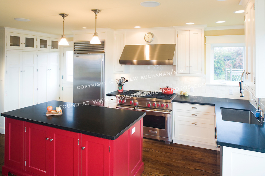 Df008893 red kitchen island stock for Bright red kitchen cabinets