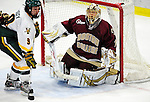 18 October 2009: Boston College Eagle goaltender John Muse, a Junior from East Falmouth, MA, in action during the third period against the University of Vermont Catamounts at Gutterson Fieldhouse in Burlington, Vermont. The Catamounts defeated the visiting Eagles 4-1. Mandatory Credit: Ed Wolfstein Photo