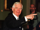 United States Senator Thad Cochran (Republican of Mississippi) points down the hall as he leaves the U.S. Senate Impeachment Trial in the U.S. Capitol in Washington, D.C. on January 21, 1999..Credit: Ron Sachs / CNP.