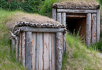 Yupik women and mens lodge, Alaska Native Heritage Center, Alaska, USA