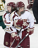 Kate Leary (BC - 28), Dana Trivigno (BC - 8) - The Boston College Eagles defeated the visiting University of Vermont Catamounts 2-0 on Saturday, January 18, 2014, at Kelley Rink in Conte Forum in Chestnut Hill, Massachusetts.