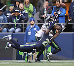 Seattle Seahawks free safety Earl Thomas #29 and cornerback Jeremy Lane #20 break up a pass intended for Philadelphia Eagles Wide receiver Bryce Treggs #16<br /> at CenturyLink Field in Seattle, Washington on November 20, 2016.   Seahawks beat the Eagles 26-15.  &copy;2016. Jim Bryant Photo. All Rights Reserved.