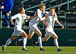 31 October 2007: The University of Vermont Catamounts Men's Soccer Team celebrate the first goal of the game against the University of Binghamton Bearcats at Historic Centennial Field in Burlington, Vermont. The Catamounts shut out the visiting Bearcats 2-0...Mandatory Photo Credit: Ed Wolfstein Photo