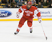 Ryan Santana (BU - 15) - The Boston College Eagles defeated the Boston University Terriers 3-2 (OT) in their Beanpot opener on Monday, February 7, 2011, at TD Garden in Boston, Massachusetts.