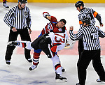 11 November 2008:  Montreal Canadiens' defenseman Francis Bouillon punches Ottawa Senators right wing forward Jarkko Ruutu during a fight in the third period at the Bell Centre in Montreal, Quebec, Canada. Both players were penalized for fighting as the Canadiens defeated the visiting Senators 4-0. ***Editorial Sales Only***..Mandatory Photo Credit: Ed Wolfstein Photo *** Editorial Sales through Icon Sports Media *** www.iconsportsmedia.com