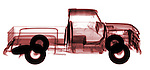 X-ray image of an old pick-up truck (red on white) by Jim Wehtje, specialist in x-ray art and design images.
