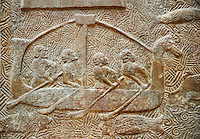Stone relief sculptured panel of a boat. From the northern courtyard,  Inv AO 19890 from Dur Sharrukin the palace of Assyrian king Sargon II at Khorsabad, 713-706 BC.  Louvre Museum Room 4 , Paris