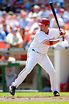 11 April 2006: Brian Schneider, catcher for the Washington Nationals, at bat during the Nationals' Home Opener against the New York Mets in Washington, DC. The Mets defeated the Nationals 7-1 to start the 2006 season at RFK Stadium...Mandatory Photo Credit: Ed Wolfstein Photo..