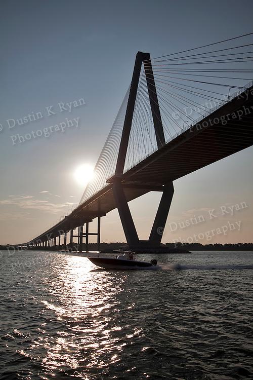 Arthur Ravenel Jr Bridge Charleston SC cooper river south carolina speed boat fishing boat center console