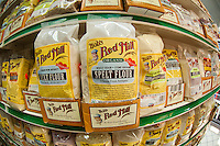 Bob's Red Mill organic, stone ground spelt flour seen in the Essex Street Market in the Lower East Side in New York on Saturday, May 26, 2012. Built in 1940 to remove pushcarts off of the streets, the market has been rebranded and contains a mix of Hispanic groceries and upscale merchants. (© Frances M. Roberts)