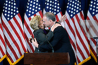Democratic Presidential candidate Hillary Clinton hugs Democratic Vice Presidential nominee United States Senator Tim Kaine (Democrat of Virginia) as she arrives on stage to deliver her concession speech Wednesday, from the New Yorker Hotel's Grand Ballroom in New York city , NY, on November 9, 2016.  <br /> Credit: Olivier Douliery / Pool via CNP /MediaPunch