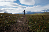 Lone hiker on trail across mountain plataue between Teusjaure and Vakkotavare, Kungsleden trail, Lapland, Sweden