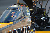 Feb 11, 2017; Pomona, CA, USA; NHRA top fuel driver Tony Schumacher during qualifying for the Winternationals at Auto Club Raceway at Pomona. Mandatory Credit: Mark J. Rebilas-USA TODAY Sports